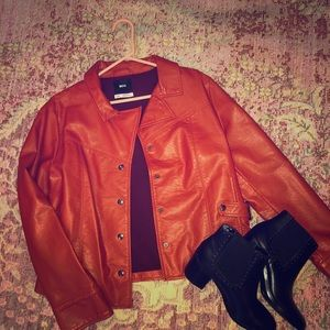 BDG Orange Faux Leather Jacket
